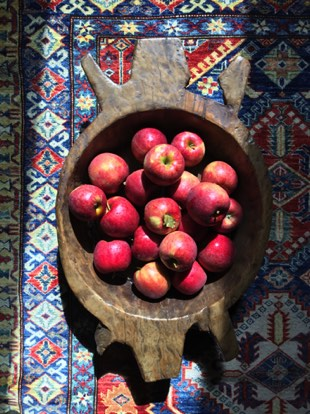 We have a lot of respect for each of the items you will find here. For example, the rug in this photo is a hand-crafted, fair trade piece of art for the floor and the unique wooden bowl was created by a Native American and holds a bountiful pile of local apples from one of our Amish neighbors.