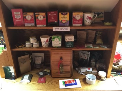 We love tea! Anytime you visit, we will have a about 10 or 12 varieties of both loose leaf and bagged teas, plus hot chocolate. You'll find herbal, green, white, oolong, black and other delicious and healthy teas here...